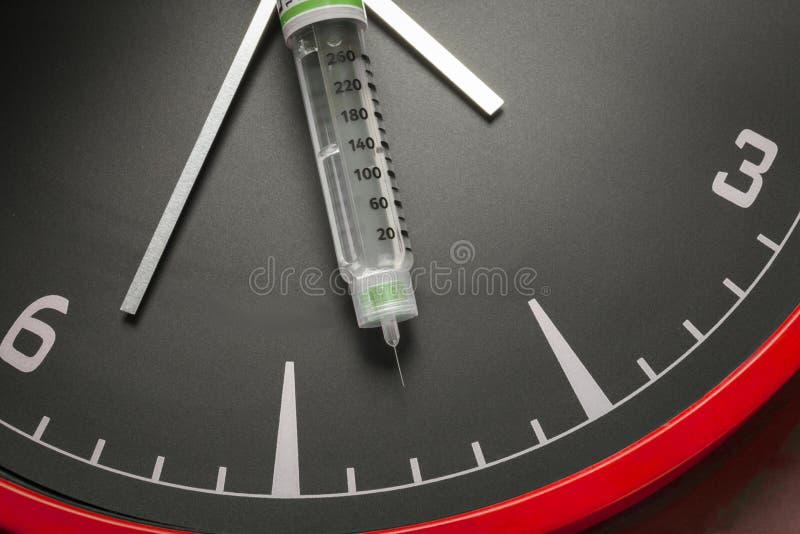 Les fioles et la seringue de médecine, l'horloge montre la période du médicament photos libres de droits