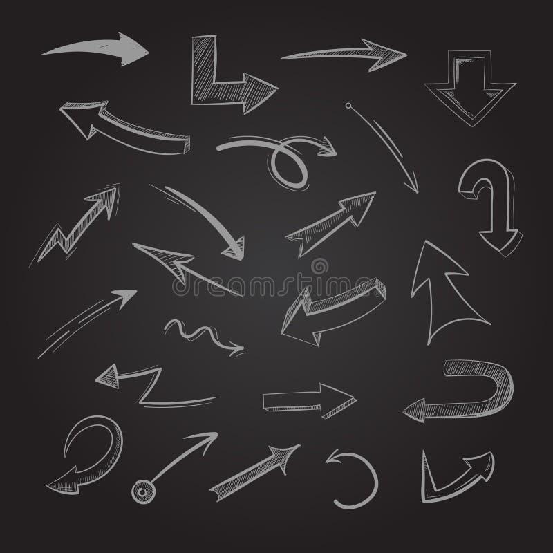 Les flèches abstraites de craie de griffonnage sur le tableau noir dirigent l'illustration illustration stock