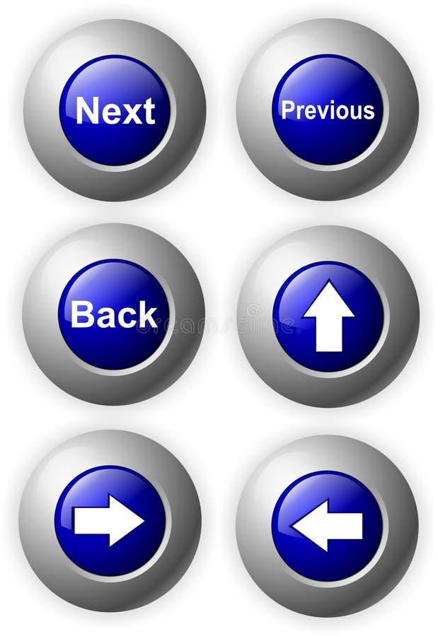 Les flèches bleues lustrées de boutons ensuite desserrent illustration libre de droits