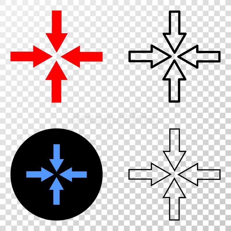 Les flèches d'effondrement dirigent l'icône d'ENV avec la version de découpe illustration de vecteur