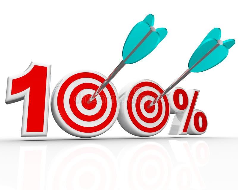 Les flèches de 100 pour cent dans les cibles perfectionnent la rayure illustration libre de droits