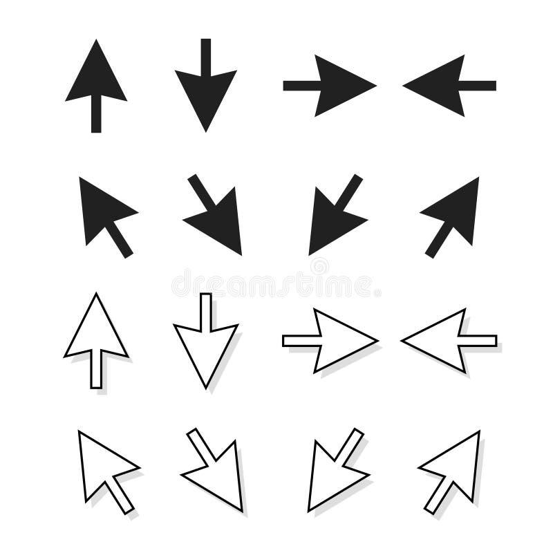 Les flèches dirigent l'ensemble d'isolement, flèches d'indicateur de direction, vers le haut d'icône vers le bas de gauche à droi illustration libre de droits