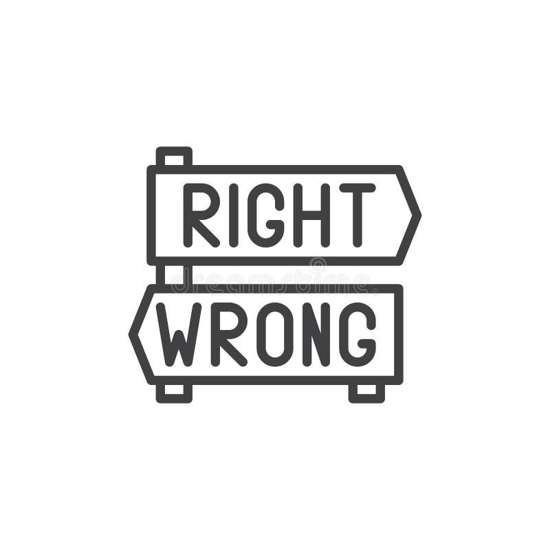 Les flèches droites et fausses d'indicateur signe l'icône d'ensemble illustration de vecteur