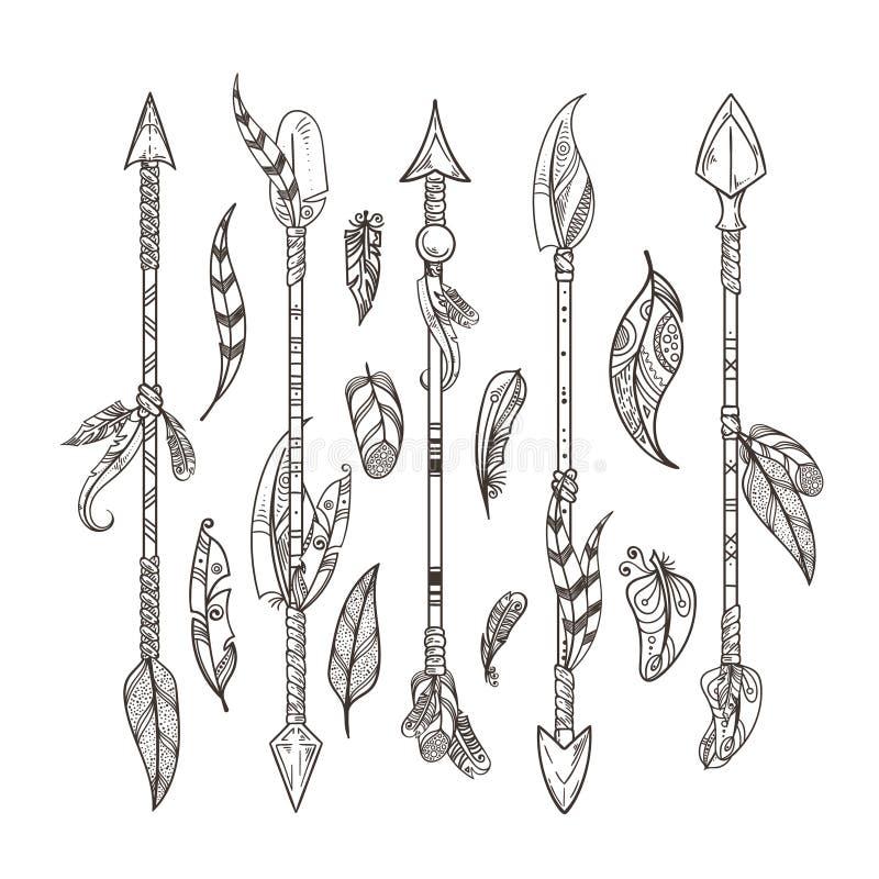 Les flèches et les plumes décoratives ont placé dans le style de boho Ornement indien indigène de vecteur illustration de vecteur