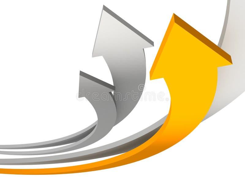Les flèches oranges et grises lèvent le concept de réussite de travail d'équipe illustration libre de droits