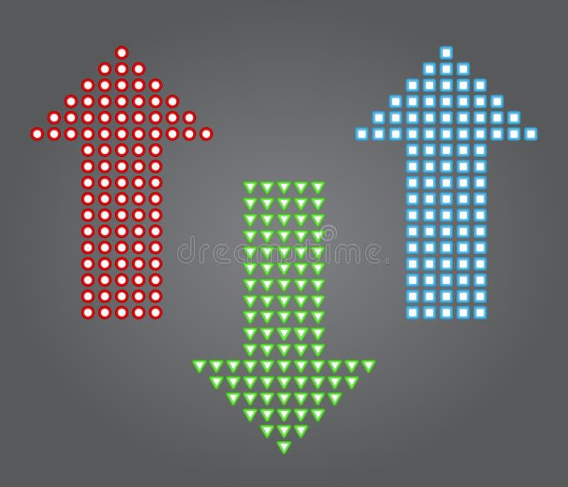 Les flèches signent la couleur d'icône, de rouge, verte et bleue illustration de vecteur