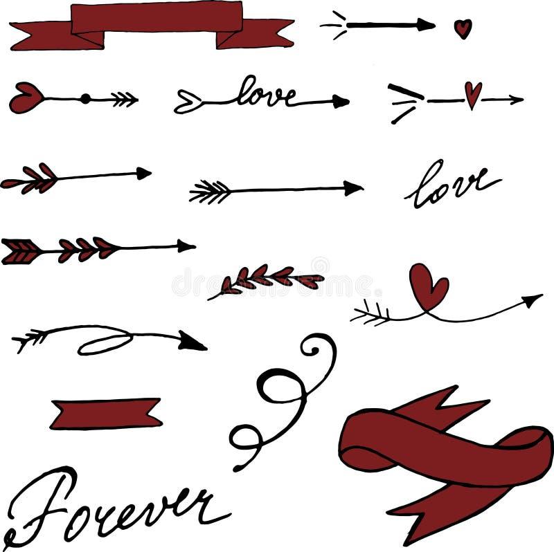 Les flèches tirées par la main parfaites de vecteur ont placé pour le jour du ` s de Valentine images libres de droits
