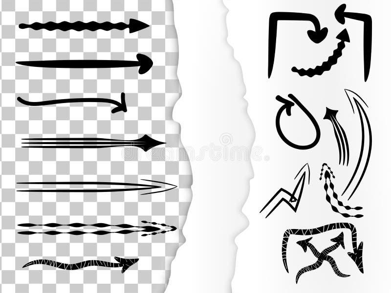 Les fl?ches tir?es par la main de griffonnage de vecteur balayent le papier d?chir? illustration de vecteur