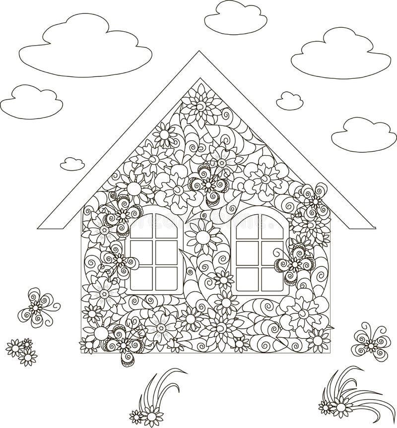 Les fleurs autoguident, les actions adultes d'anti-effort de page de coloration illustration libre de droits