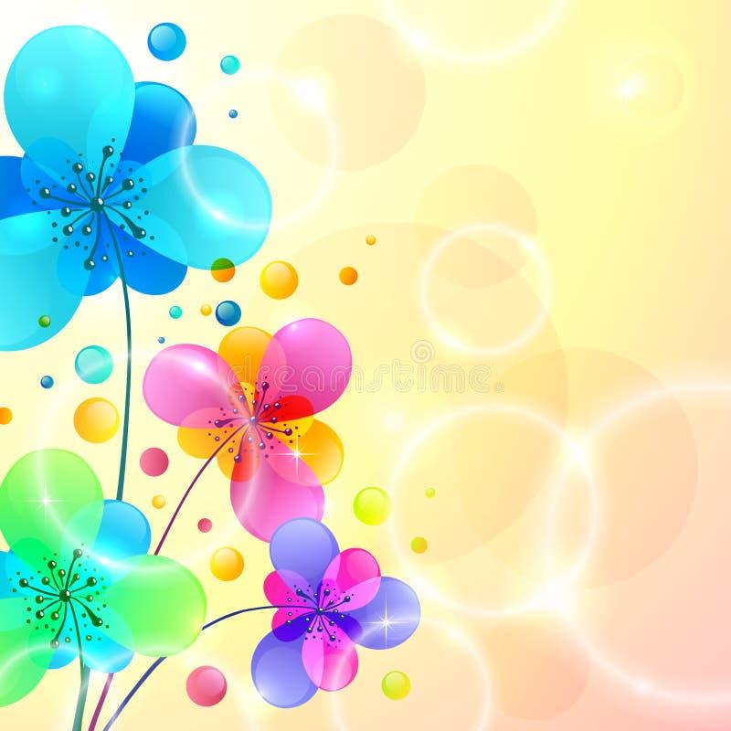 Les fleurs brillantes lumineuses dirigent le fond illustration de vecteur