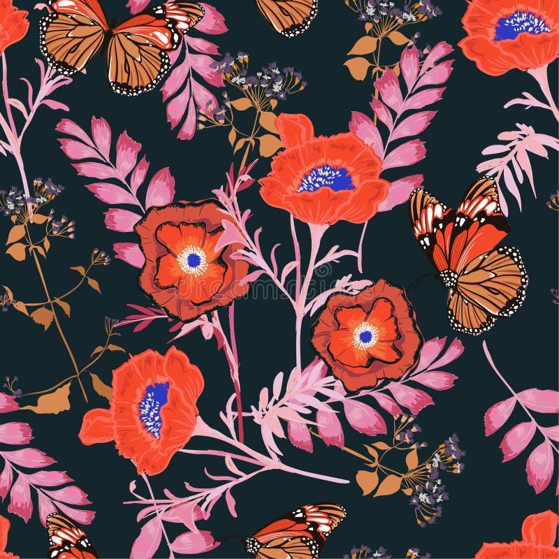 Les fleurs colorées de floraison de beau modèle sans couture floral contrasty avec des motifs de nuit de jardin botanique de papi illustration libre de droits
