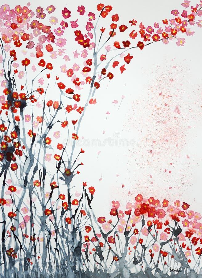 Les fleurs de cerisier de l'herbe labourent le ciel illustration stock