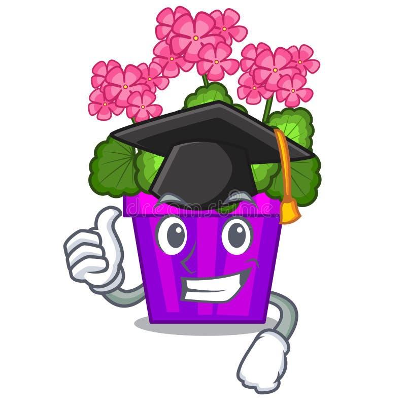 Les fleurs de géranium d'obtention du diplôme collent la tige de caractère illustration libre de droits