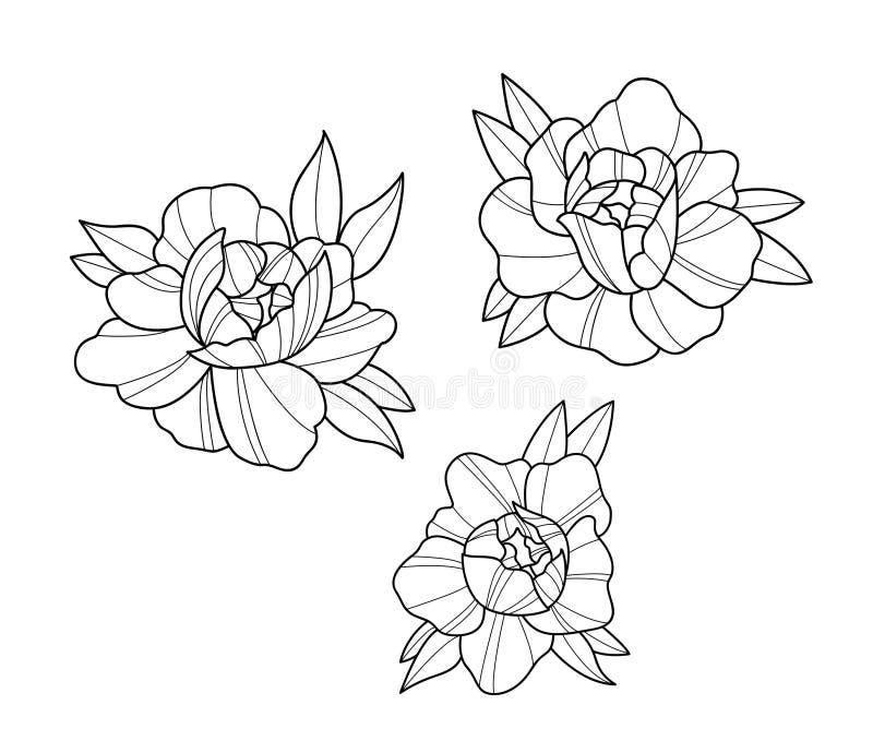 Les fleurs de tatouage ont placé le travail de point illustration libre de droits