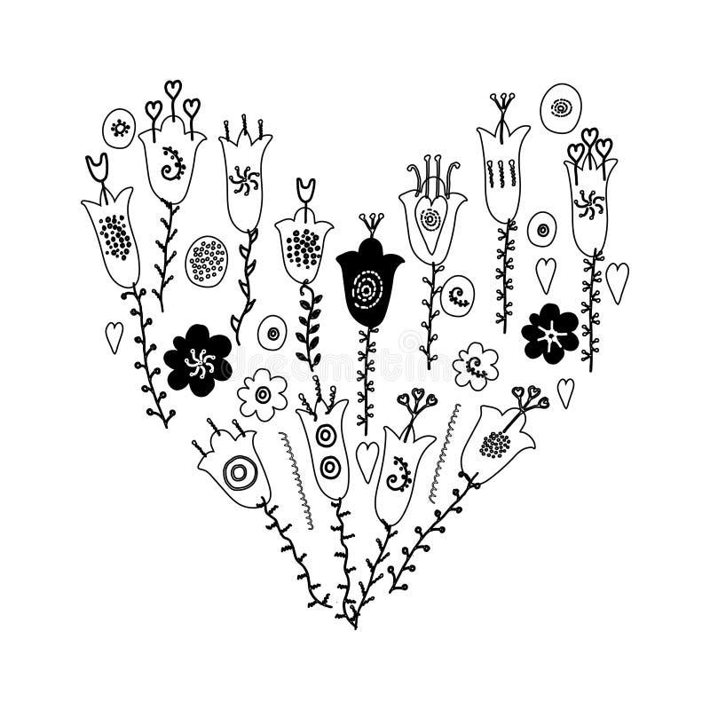 Les fleurs et les feuilles tirées par la main gribouillent Couleurs blanches d'ana monochrome et noir illustration libre de droits