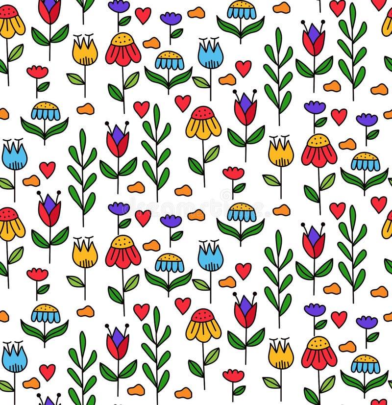 Les fleurs florales opacifie le modèle sans couture de vecteur de griffonnage décoratif illustration de vecteur