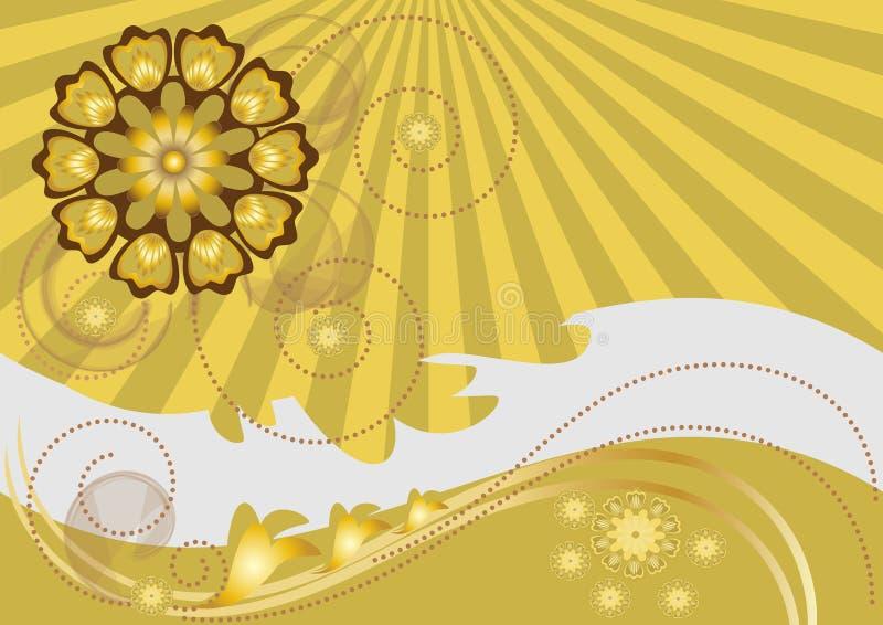 Les fleurs jaunes ont courbé la piste sur le fond de t illustration de vecteur