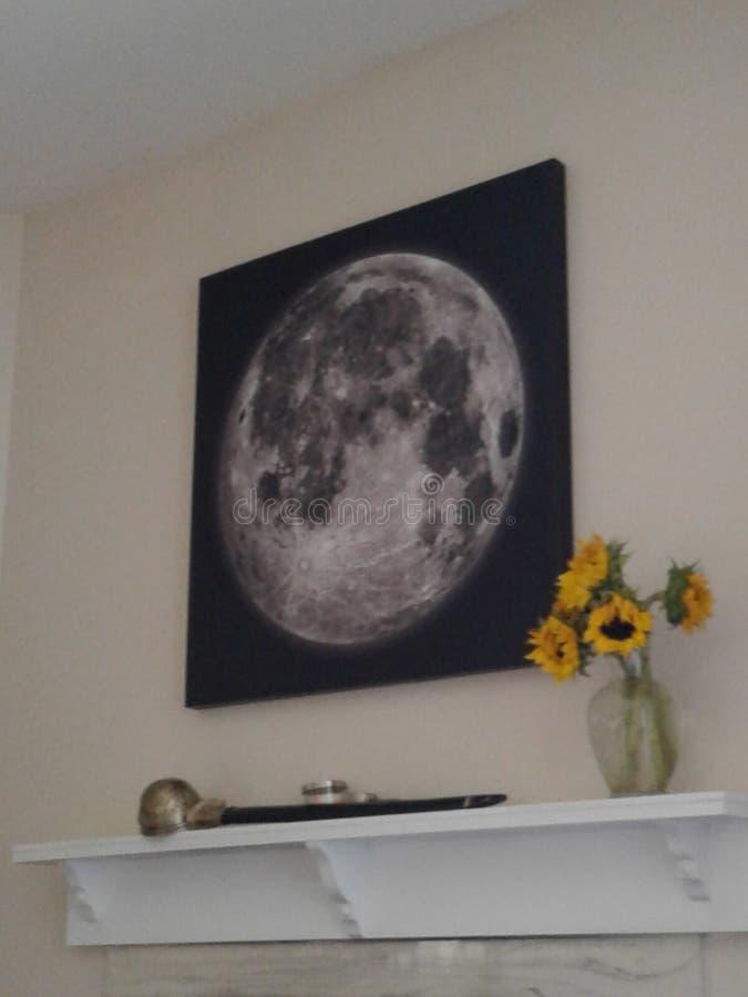 Les fleurs, l'épée, et la lune photographie stock