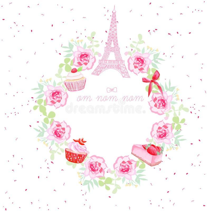 Les fleurs, les petits gâteaux, le vecteur de Tour Eiffel et d'arc conçoivent le cadre illustration de vecteur