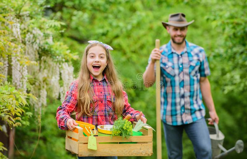 Les fleurs ont besoin de bon soin ?cologie Outils de jardinage neufs, plateau de canne Peu fille et papa heureux d'homme Jour de  images libres de droits