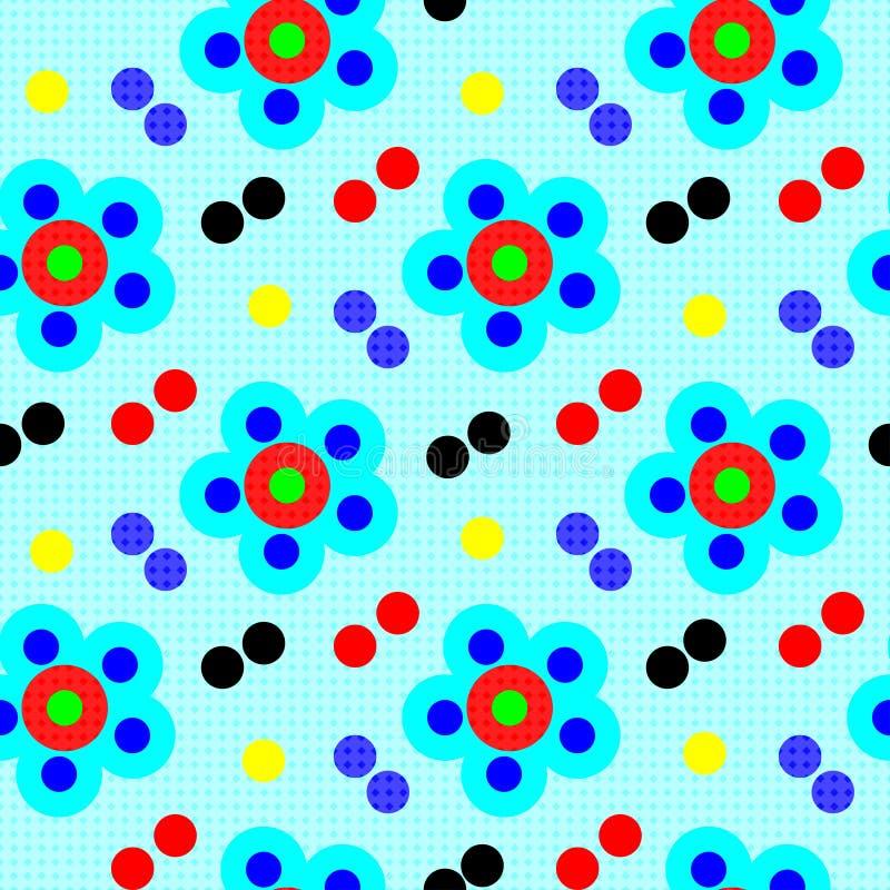 Les fleurs psychédéliques abstraites sur le modèle sans couture de fond bleu dirigent l'illustration illustration stock