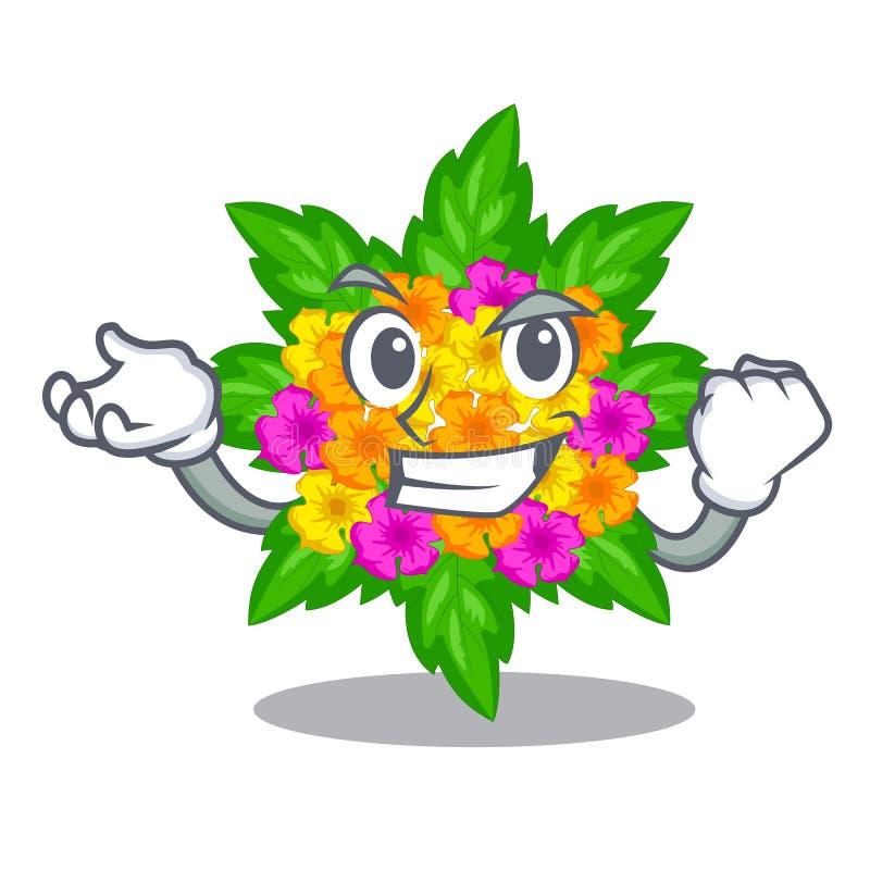 Les fleurs réussies de lantana collent sur la tige de bande dessinée illustration stock