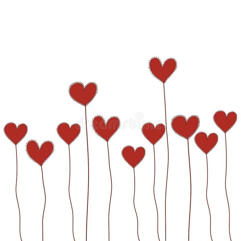 Les fleurs rouges de coeur gribouillent le vecteur d'isolement tiré par la main pour Valentin illustration libre de droits