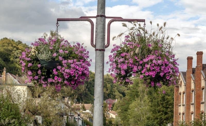 Les fleurs s'approche des maisons photos libres de droits
