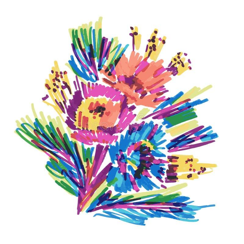 Les fleurs stylisées par vecteur ont peint le marqueur illustration libre de droits