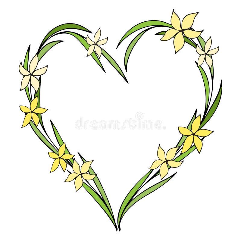 Les fleurs tirées par la main ont arrangé dans une forme de coeur Gribouillez le type Guirlande de Wildflowers d'isolement sur le illustration stock