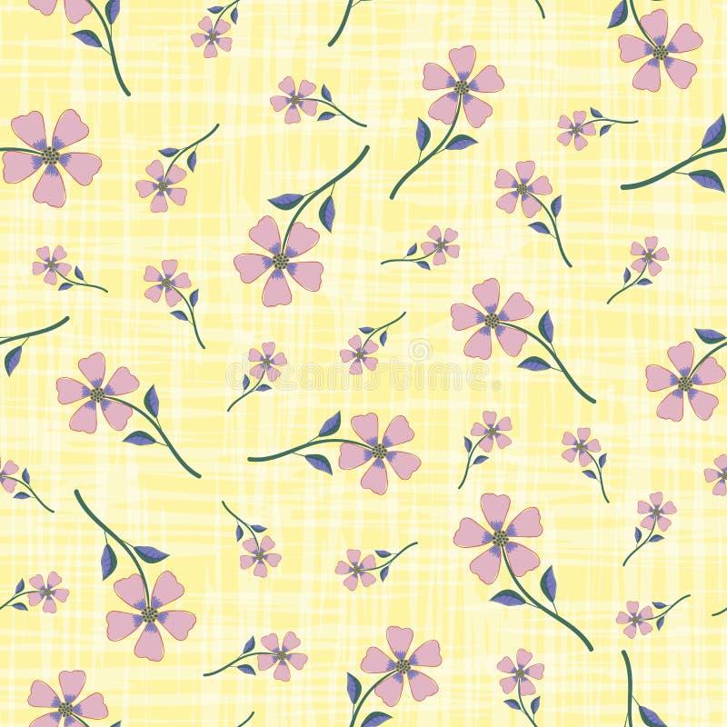 Les fleurs tirées par la main roses fumeuses en pastel sur l'effet pour aquarelle ont gravé à l'eau-forte le fond jaune Mod?le sa illustration libre de droits