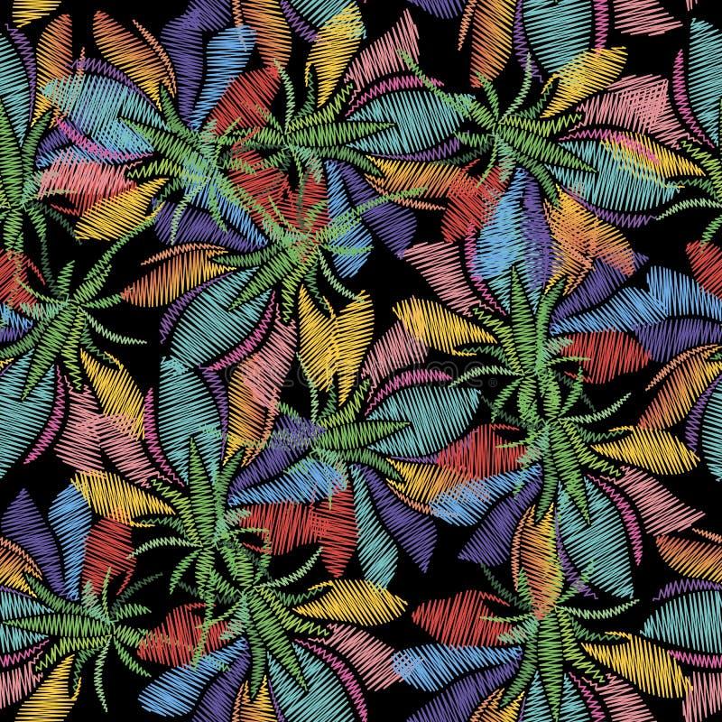 Les fleurs tropicales exotiques de broderie dirigent le modèle sans couture Fond color? de tapisserie La répétition grunge orneme illustration libre de droits