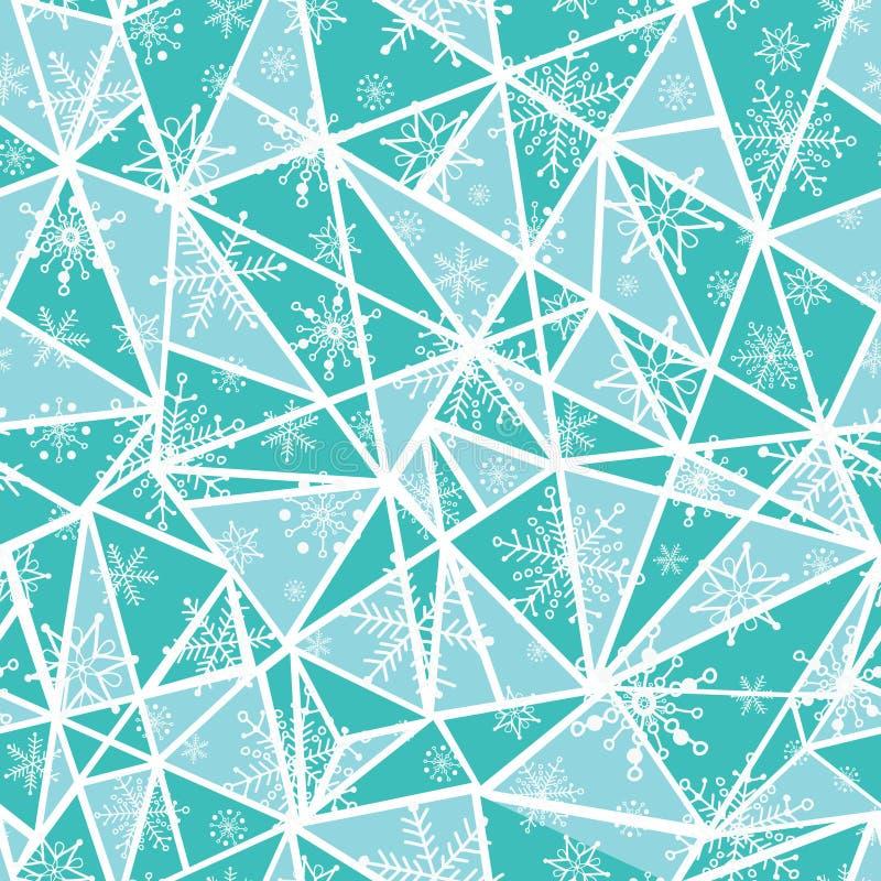 Les flocons de neige de christmass de vert de menthe d'abrégé sur vecteur sur des triangles répètent le fond sans couture de modè illustration stock