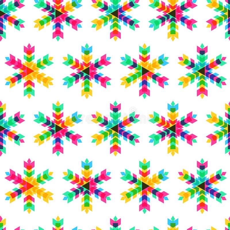 Les flocons de neige colorés, dirigent le modèle sans couture Nouvelle année ou Christ illustration libre de droits