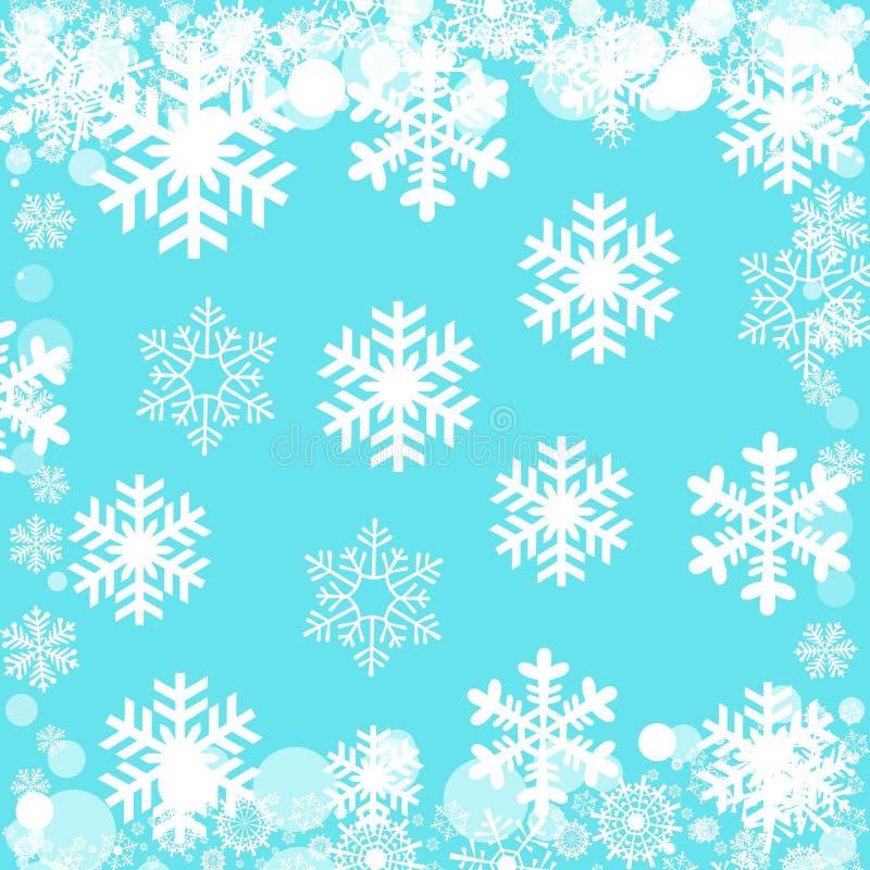 Les flocons de neige mod?lent sur le fond bleu image stock
