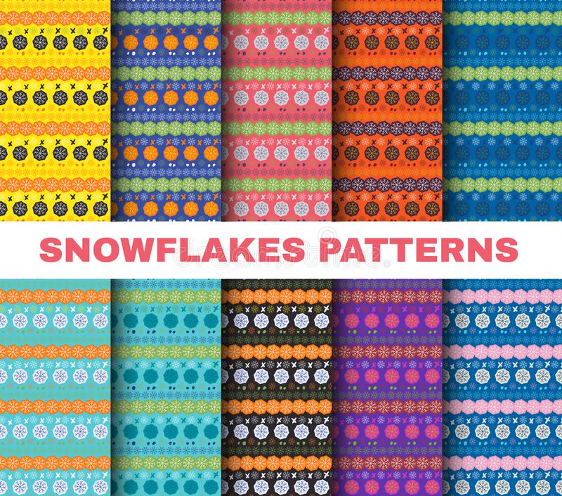 Les flocons de neige réglés de Noël de modèle d'hiver sur les milieux colorés dirigent l'art illustration stock