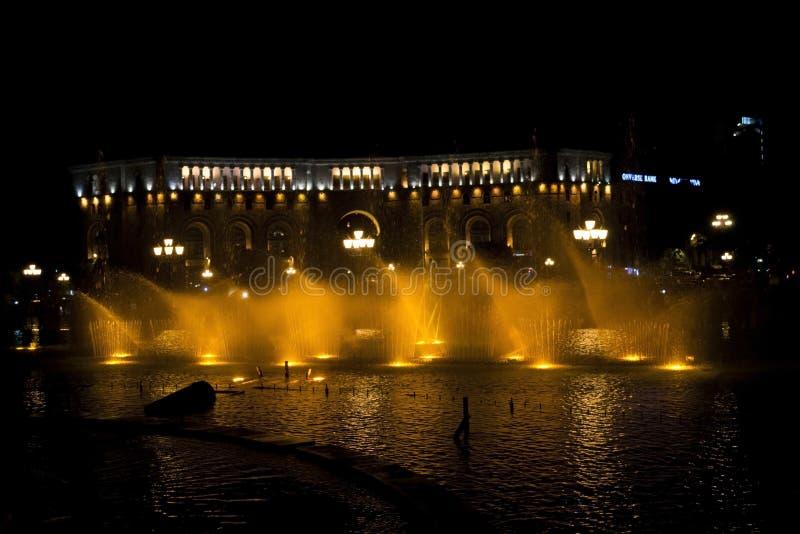 Les fontaines de danse à Erevan images libres de droits