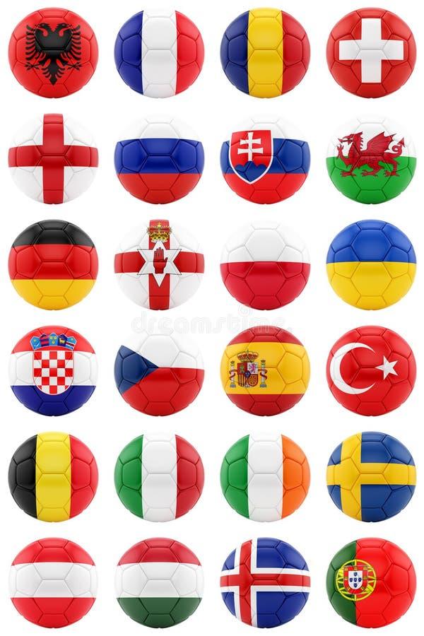 Les football avec des drapeaux photos stock