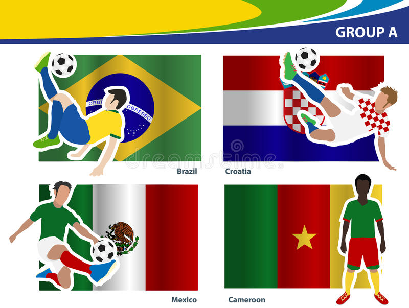 Les footballeurs de vecteur avec le Brésil 2014 groupent A illustration stock