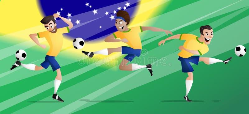 Les footballeurs du football du Brésil d'équipe ont placé donner un coup de pied la boule image libre de droits