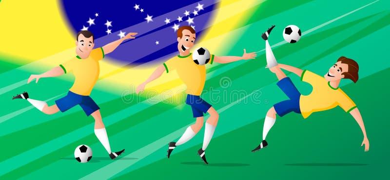 Les footballeurs du football du Brésil d'équipe ont placé donner un coup de pied la boule photo libre de droits