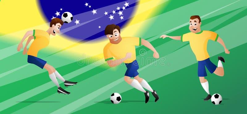 Les footballeurs du football du Brésil d'équipe ont placé donner un coup de pied la boule photographie stock libre de droits