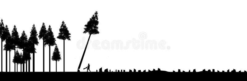 Les forêts de coupure claires, l'utilisation ou l'abus des ressources naturelles est le sujet de cette illustration Arbres silhou illustration libre de droits