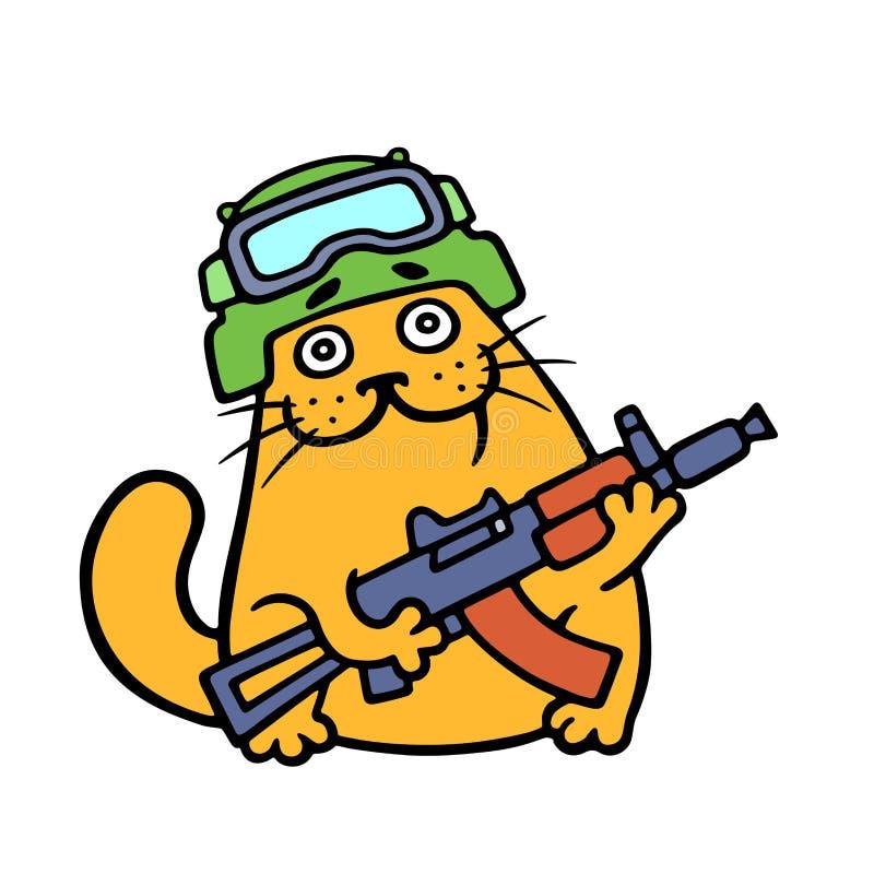 Les forces spéciales de chat drôle ont armé et préparent pour la bataille Illustration de vecteur illustration stock