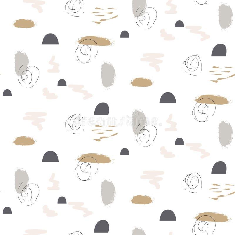 Les formes en pastel de traçages peignent le modèle gris d'or de vecteur sans couture illustration libre de droits
