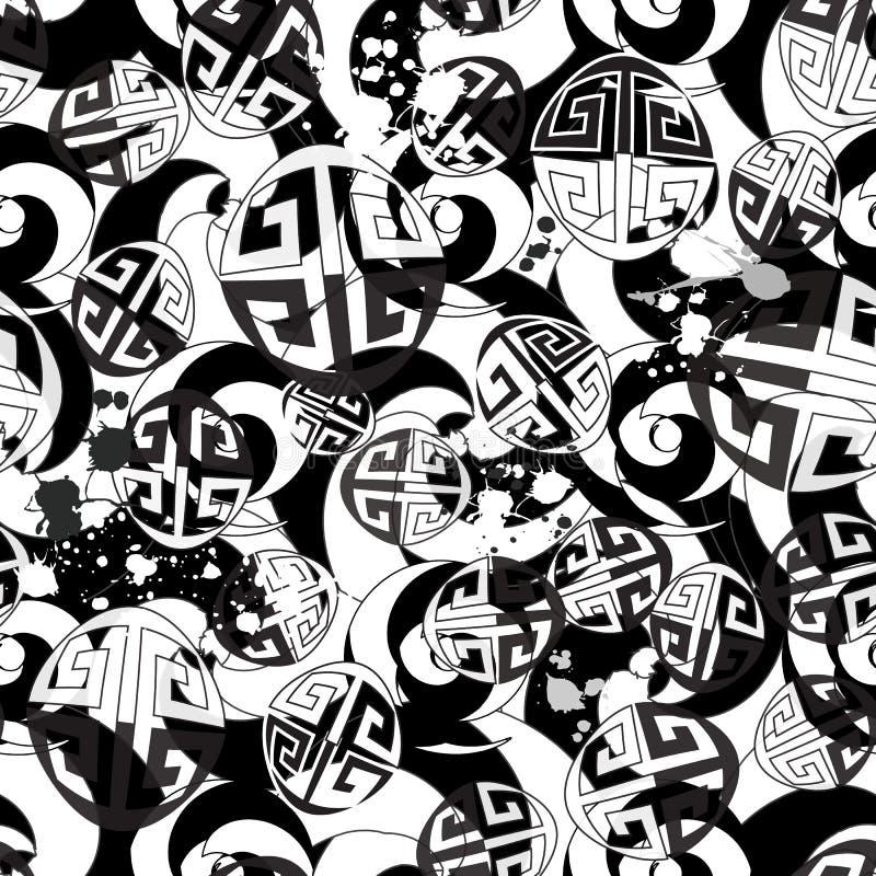Les formes en spirale rayées noires et blanches modernes dirigent le modèle sans couture La clé grecque serpente fond Monochrome  illustration stock