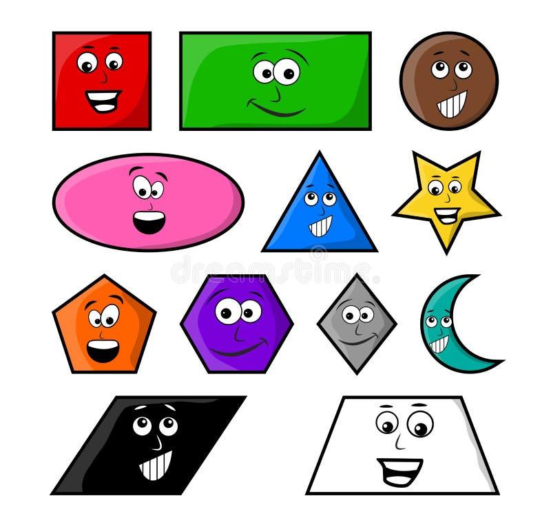 Les formes géométriques de bande dessinée avec l'icône de symbole de vecteur de sourire conçoivent illustration stock