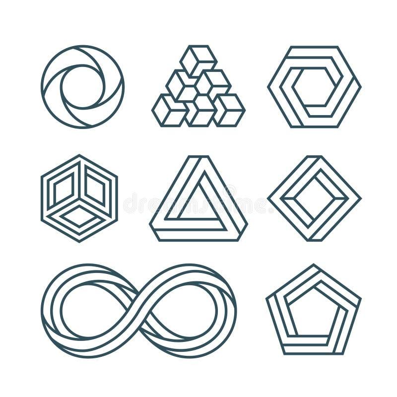Les formes impossibles amincissent la ligne icônes minimales de vecteur réglées illustration de vecteur