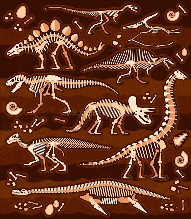 Les fossiles de dinosaure, oeufs, désosse des squelettes illustration de vecteur