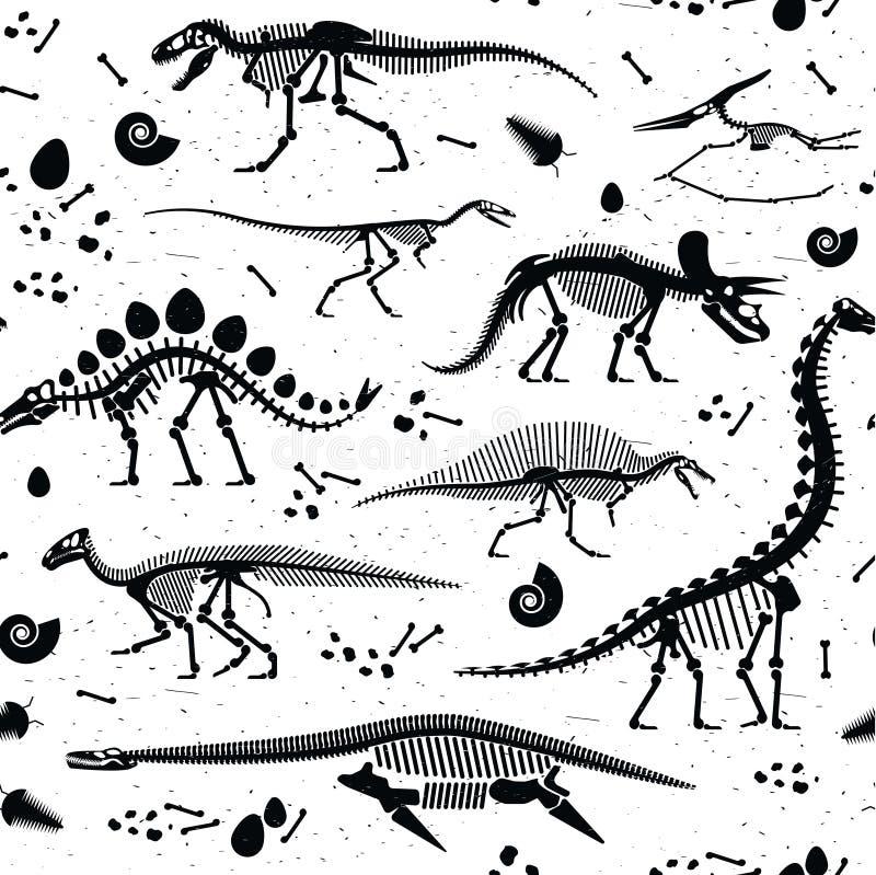 Les fossiles de dinosaure, oeufs, désosse des squelettes illustration libre de droits